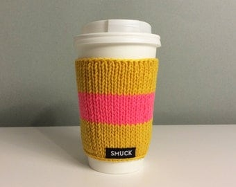 Knitted cuff for coffee mug take away. Handmade.