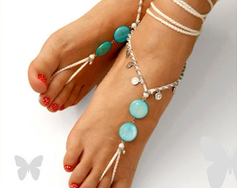 Barefoot Sandals. Something Blue. Turquoise Mother Of Pearl. Gift For Her