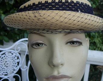 Deadstock Unworn Stunning 1950s Tan Straw Hat