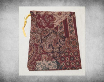 """Printed Fabric - 8x10"""" Brown Patchwork Paisley drawstring bag. Great for crafts, storage, and easy gift wrap!  BAG-111"""