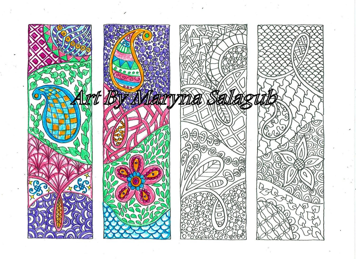 Bookmarks to color adults -  Zoom