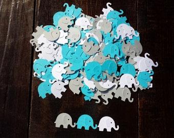 Elephant confetti,  Gray, blue and white elephant confetti, baby boy baby shower, Elephant themed baby shower