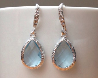Stunning silver and baby blue framed crystal earrings