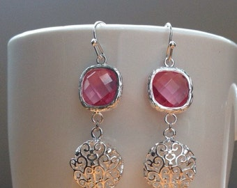 Round silver filigree and pink crystal earrings
