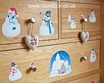 Christmas Snowman and Robin Wall Decorations Fabric Wall Stickers Removable and Reusable Wall Decals