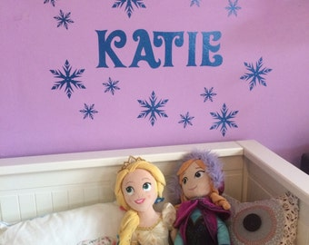 Personalised Frozen Style Snowflake with Name Sparkly Wall Sticker Decal