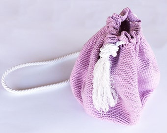 Handbag hooked in cotton pink