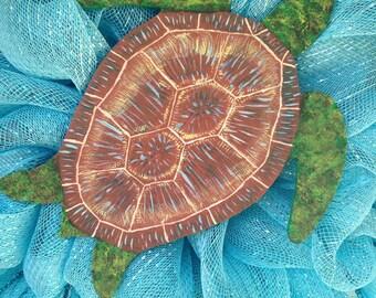Summer Ocean Sea Turtle Deco Mesh Door Wreath
