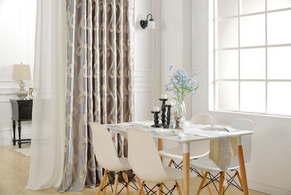 a pair of grey beige curtains made to order up to. Black Bedroom Furniture Sets. Home Design Ideas