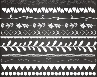 31 Piece Digital Borders Clip Art, Flourishes, Hand Drawn, Doodle Borders, Chalkboard Borders, White