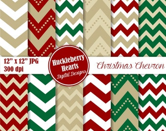 80% OFF SALE Holiday Chevron Paper, Digital Scrapbook Paper, Christmas, Digital Chevron, Red and Green
