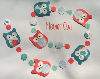 Owl garland : Flower Owl with six owls and flowers 3 d  measure 4,5ft perfect for birth gift