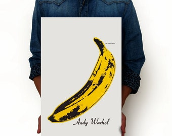"""Banana - Peel Slowly and See by Andy Warhol Vintage Poster Print, Illustration, Minimalist Art, Vintage Advertising Poster 13"""" x 19"""""""