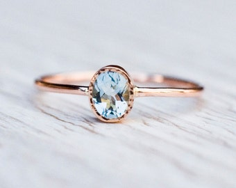 Aquamarine engagement ring in 14k Rose Gold,  Gold Aquamarine Ring,  March birthstone, Unique engagement, handmade