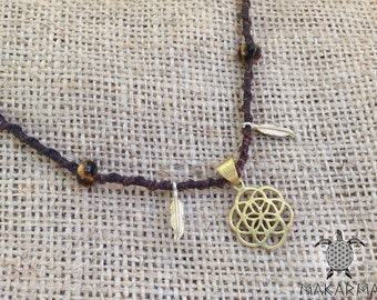 Golden Seed Of Life Necklace Brass Macrame Necklace Sacred Geometry Jewelry
