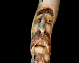 Walking stick,  hiking stick, Hand carved, wood spirit carving, Hiking Staff, cane, aspen, B. Madsen
