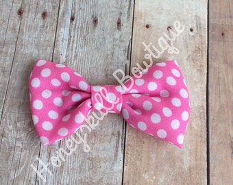 Pink and White Polka Dot Fabric Tuxedo Bow Hair Clip for all Ages