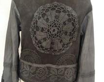 Boho jacket , gray elven jacket , woodland crochet jacket , knit cardigan , repurposed cotton cardigan, boho style ,upcycled fabric, crochet