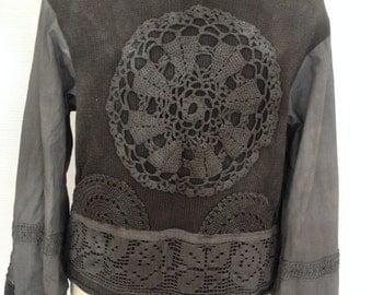 Boho jacket , gray elven jacket , woodland crochet jacket , repurposed cotton cardigan, boho style ,upcycled fabric, crochet