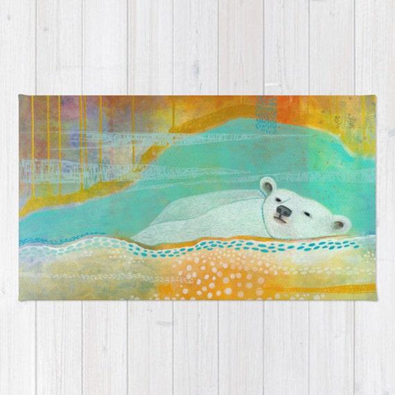 Polar Bear Nursery Rug Unisex Washable Throw Rug Turquoise