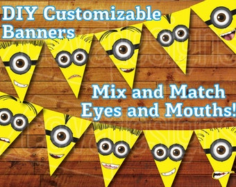 SALE! 50% off! Printable Minion Birthday Decoration - Minion Party Bunting Kit Instant Digital Download / Minion Banner Despicable Me Party