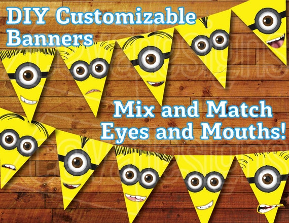 sale 50 off printable minion birthday decoration minion. Black Bedroom Furniture Sets. Home Design Ideas