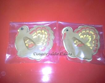 Turkey Thanksgiving Decorated Sugar Cookies  -1 dozen