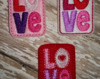 Set of 4 LOVE heart Valentines Valentine Day Feltie Felt Embellishment Bow! Birthday Party