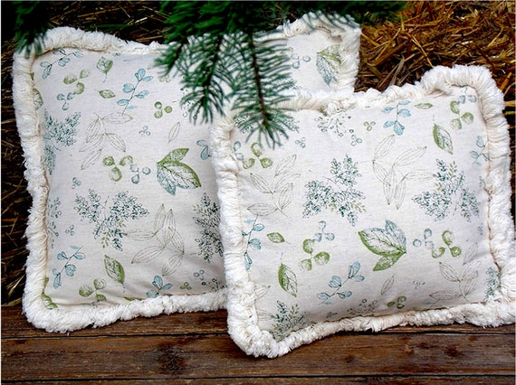 Two fringed pillow covers / Throw cushion covers / Sofa pillows / Natural decor