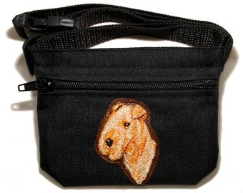Embroided dog treat waist bag. Breed - Lakeland Terrier. For dog shows and training. Great gift for breed lovers.