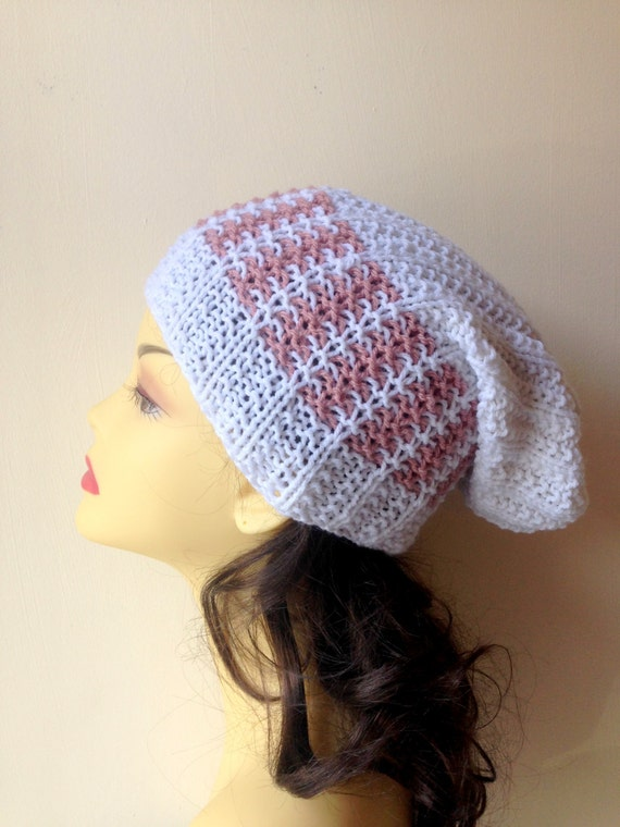 White Slouchy Hand Knitted Hat, Slouchy beanie hat slouchy white and rose pink color hat, hand knit women men hat, chunky slouchy hat