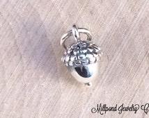 Acorn Charm, Acorn Pendant, Tiny Acorn Charm, Nature Charm, Natural Charm, Nature Pendant, Sterling Silver Charm, TINY, PS01106