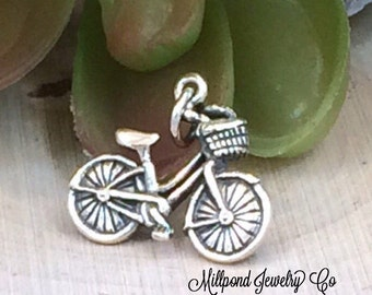 Bicycle Charm, Bike Charm, Sterling Silver Bicycle Charm, Outdoors Charm, PS01280