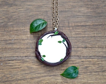 Protection amulet talisman necklace mirror size 4.5 cm branches leaves handmade Ladybug