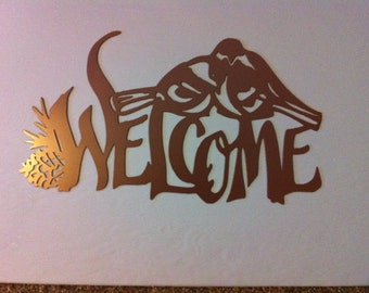 Welcome Sign With Birds And Pine Cones