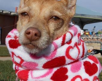 Small dog fuzzy snood scarf; furry, fuzzy plush little scarves