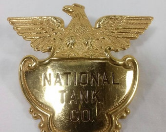 National tank co company hat badge vintage gas and oil advertising delivery driver