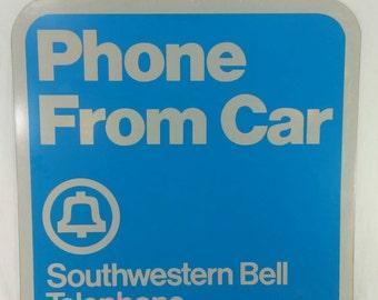 Vintage Southwestern bell phone from car metal advertising payphone  telephone sign unused
