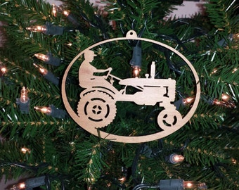 Christmas Ornament Tractor Farmer Holiday Laser Cut Wood