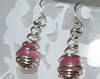 Sterling Silver and Pink Cat Eye Wire Spiral Wrapped Caged Dangle Earrings
