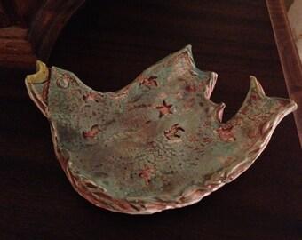 OOAK Blue Bird Pottery Tray Dish