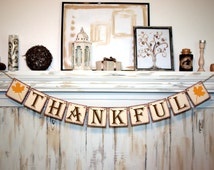 THANKFUL BANNER Rustic Banner Thanksgiving Banner Fall Colors Banners Thankful Fall Decoration