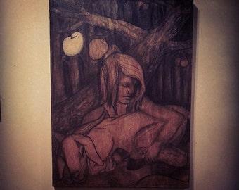 "Original Fine Art Illustration / Drawing - Charcoal on Wood | Gold Leaf | ""Little Two Eyes, Her Goat & the Golden Apple"""