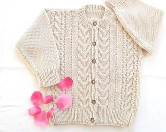 Girls Aran cardigan - 4 years - Childrens clothing - Kids knit sweater - Childs Aran sweater - Girls knitted Aran jumper