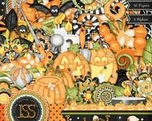 Digital Scrapbooking Halloween Jack O Lantern Digi Scrap Kit