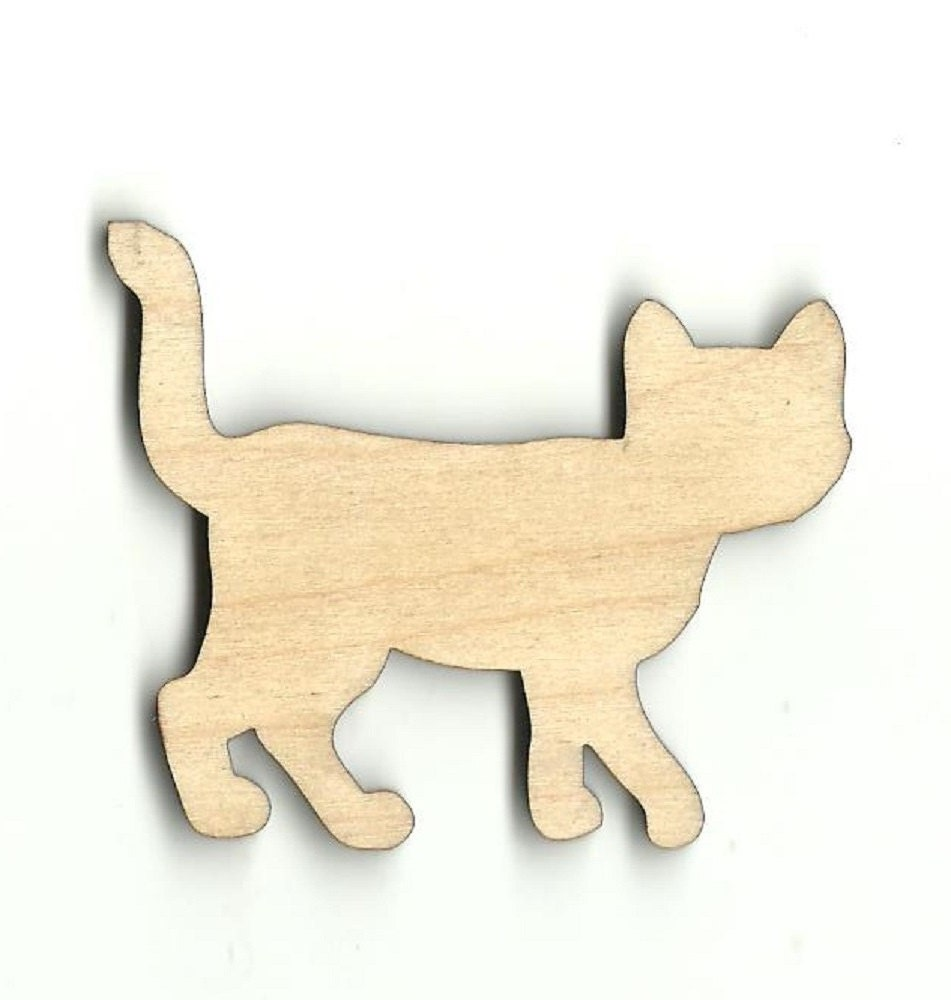 Kitty cat laser cut out unfinished wood shape craft for Craft supplies wooden shapes