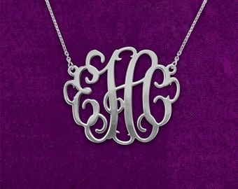 Silver Monogram Necklace 1.25 inch - Personalized Monogram - 925 Sterling silver