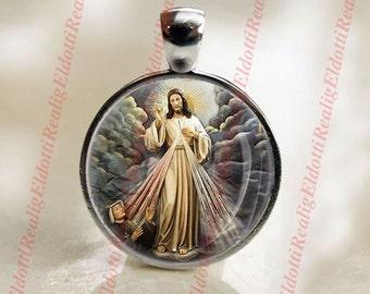 Jesus Divine Mercy Catholic Christian Religious Christian Medal Cabochon Pendant