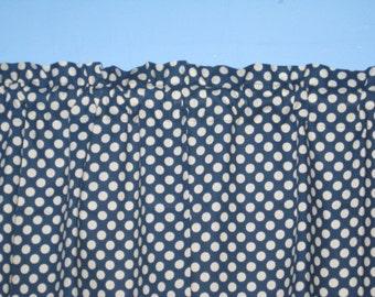 HANDMADE 100% COTTON White Navy Polka Dots Window Curtain Valance