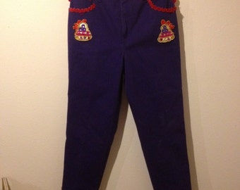 Vintage Purple Tacky Christmas Pants With Bells Size 14W